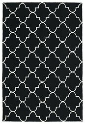 BLACK OUTDOOR RUGS CONTEMPORARY RUGS  5X8 [5' X 7' 6