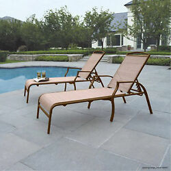 Outdoor Lounge Chairs Set Of 2 Polyester Fabric Tan Beach Patio Pool Chaise New
