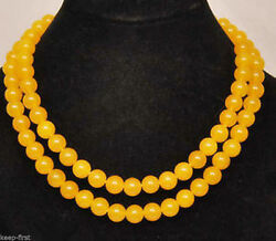 33'' Long 10mm Natural Round Yellow Jade Gemstone Beads Necklace AAA++