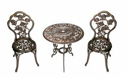 Patio Bistro Set Outdoor 3pc Table Chairs Floral Design Metal Dining Furniture