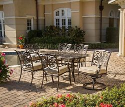 Patio Dining Set 7 Piece Cast Aluminum Bronze Finish Table Chairs Cushions NEW