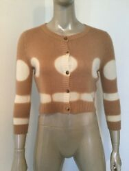 NWT $1350 AGNONA PURE ITALIAN CASHMERE WOMENS CROPPED CARDIGAN SWEATER 40