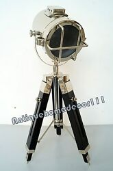 Home Decor Vintage Marine Maritime Chrome Spotlight Table Lamp Wooden Tripod
