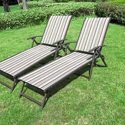 Folding Beach Chairs Outdoor Patio Chaise Furniture Garden Lounge Chairs 2 Pc