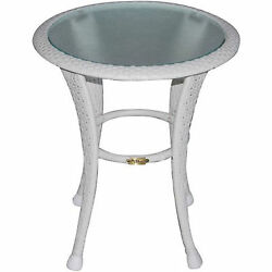Outdoor Side Table White Wicker And Round Glass Top Garden Porch Patio Furniture