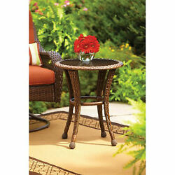 Outdoor Side Table Brown Wicker And 20