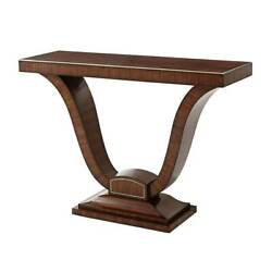 Art Deco Rosewood and Brass Strung Console Table