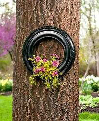 Hanging Tire Planter for Tree Garage Shed Wall Outdoor Garden Whimsical Decor