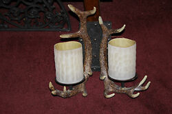 Faux Antler Double Light Wall Sconce Light Fixture-Country Hunting Decor-Cabin