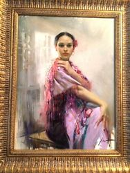 PINO DAENI - LILAC SILK 24 x 18 - ORIGINAL OIL CANVAS PAINTING - MUSEUM FRAMED