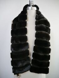 NEW LORO PIANA $7000 dark brown mink fur suede detail cashmere lined wrap scarf
