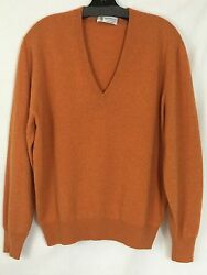 Brunello Cucinelli Men's V Neck 100% Cashmere Pull Orange NWOT SZ 50 US M