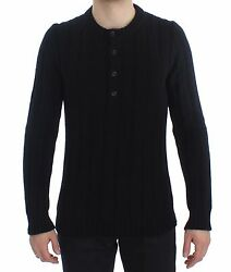 NEW $1800 DOLCE & GABBANA Sweater Cashmere Black Henley Knitted Mens s. IT48  M