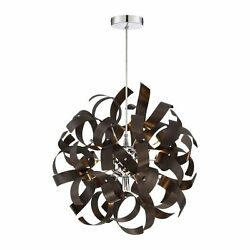 17-in Western Bronze Single Orb Pendant Dimmable Hardwired Home Ceiling Decor
