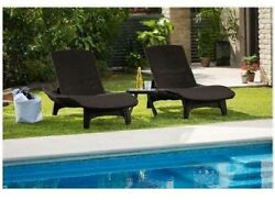 Sunbathing Lounge Chairs With Side Table Chaise Recliner Patio Poolside Outdoor