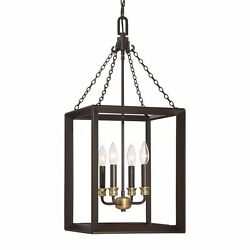 13-in Western Bronze Single Cage Pendant Dimmable Hardwired Home Ceiling Decor