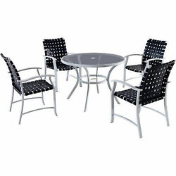 5 Piece Patio Dining Set Outdoor Furniture Table And 4 Blue Straps Metal Chairs