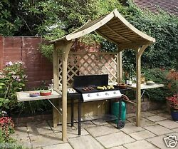 Grill BBQ Wooden Arbour Barbecue Shelter Outdoor Patio Party Gazebo Bench Garden