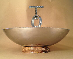 Art Deco Chrome Nutcracker Bowl Chase Brass & Copper Co 1930's Wood Base