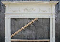 18th Century Fireplace Mantel Chip Carved Pinwheels Ovals W Added SwagsBasket
