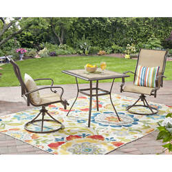 Patio Furniture Height Table And Chairs 3 Pc Bar Swivel Chairs Set Garden Seater