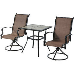 Patio Furniture Bistro Set High Dining 3 Piece Outdoor Bar Table Swivel Chairs