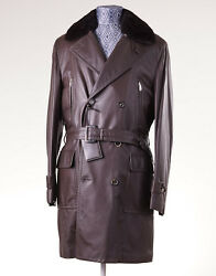 NWT $12295 BRIONI Leather Coat with Nutria Fur Collar 50M Cashmere Lining