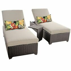 Miseno CLASSIC-2x-ST-BEIGE Traditions 3-Piece Outdoor Chaise Lounge Chair Set