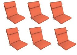 Orange Replacement Patio Cushion Set of 6 Outdoor Thick Dining Seat Chair Pad