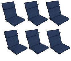 Blue Replacement Patio Cushion Set of 6 Outdoor Thick Dining Seat Chair Pad Pads