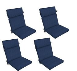 Blue Replacement Patio Cushion Set of 4 Outdoor Thick Dining Seat Chair Pad Pads