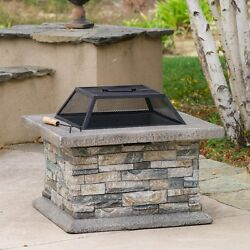 Stone Finish Cement Wood-Burning Fire Pit Home Garden Outdoor Patio Heater 29-in