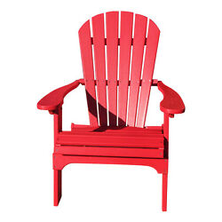 Fire Engine Red Recycled Poly Folding Patio Adirondack Chair Slat Home Furniture