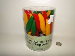 String Lights Set of 35 Chili Peppers IndoorOutdoor NIB 22.5 ft Long Patio