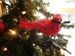 Set of 11  Cardinals Blue & Gold  Bird Ornaments for Holiday decor