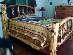 INCREDIBLE red cedar king size log bedroom suite massive SOLID wood 5 pieces!!