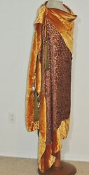 1920-30's Silk Velvet Wrap  Shawl Metallic Gold Velvet Lame' Metallic Tassel