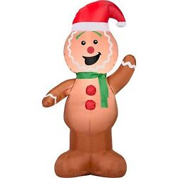 GINGERBREAD MAN Inflateable Holiday Air Blown Outdoor Christmas Decor 4 Ft LED