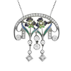 Nouveau 1910 Arctic Diamond and Enamel Brooch Pendant in 18K White Gold  FJ