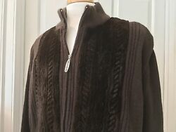 Stefano Ricci Cashmere and Mink Zippered Jacket w Leather Trim  Brown Sz 52