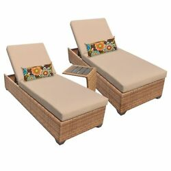 Miseno LAGUNA-2x-ST-WHEAT 3-Piece Framed Outdoor Chaise Lounge Set wSide Table