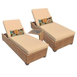 Miseno LAGUNA-2x-ST-SESAME 3-Piece Framed Outdoor Chaise Lounge Set wSide Table
