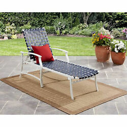 Outdoor Chaise Lounge Chair Metal Frame Blue All Weather Strap Beach Patio Pool
