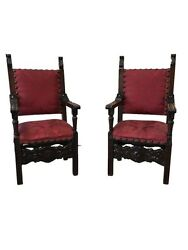 Pair of Italian Renaissance Revival Carved Armchairs Antique Chairs