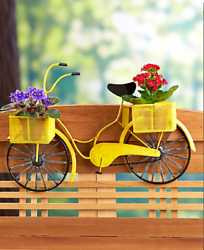 Deck Rail Planter Box Railing Patio Porch Garden Pots Flower Herb Yellow Bicycle