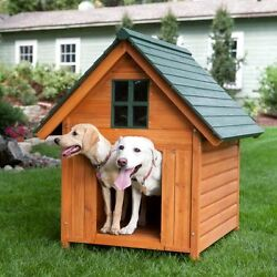 Extra Large Dog House XL Wood Log Cabin Pet Kennel Wooden Doggy Shelter Home