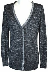 Victoria's Secret LARGE Cardigan Sweater Black Silver Metallic Thread Cashmere