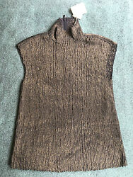New Brunello Cucinelli cashmere blend metallic gold thread sequined jumper S