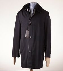 NWT $24795 BRIONI Black Leather-Trimmed Cashmere Coat w Nutria Fur Lining 50M