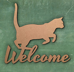 CAT Welcome Sign Wooden Laser Cut MDF Craft Blanks Shapes